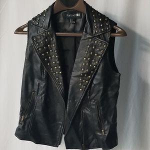 Studded Faux Leather Vest